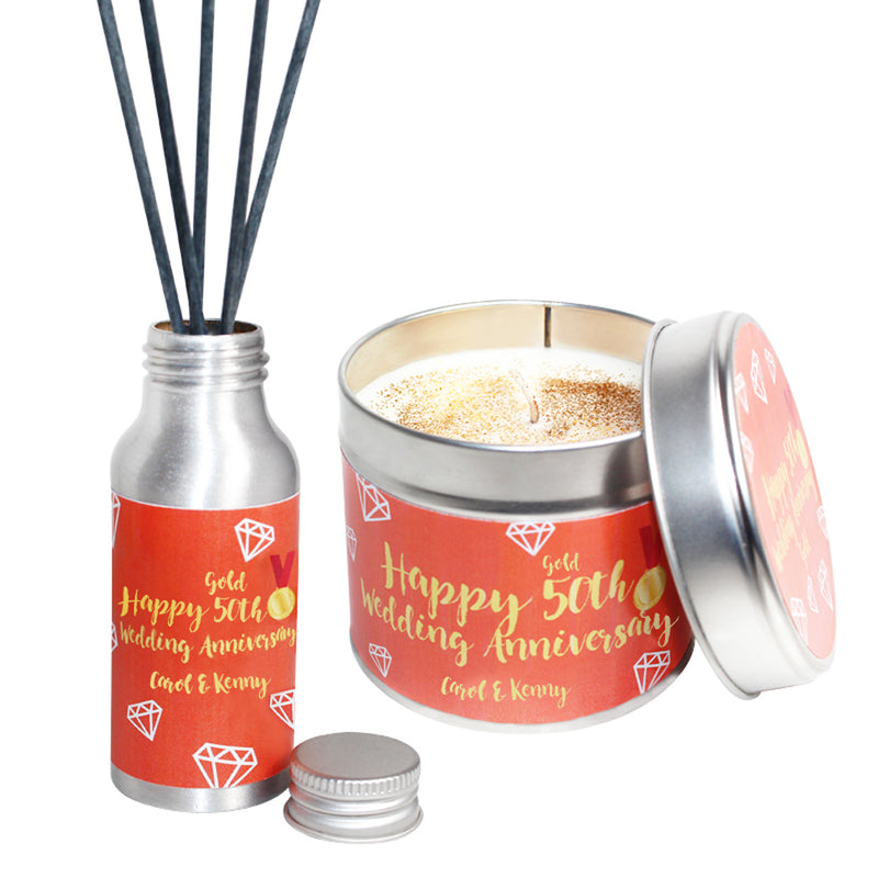 Personalised 50th Year Gold Wedding Anniversary Candle & Diffuser Gift Set