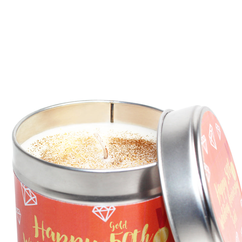 Personalised 50th Gold Wedding Anniversary Candle Tin