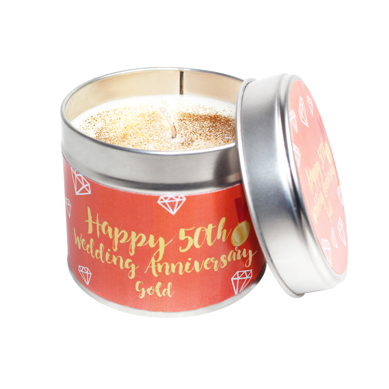 50th Gold Wedding Anniversary Candle Tin