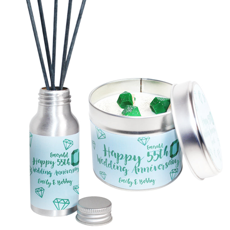 Personalised 55th Year Emerald Wedding Anniversary Candle & Diffuser Gift Set