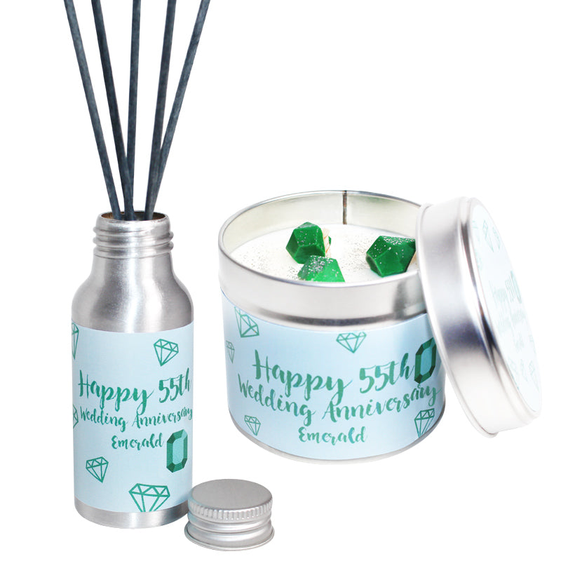 55th Year Emerald Wedding Anniversary Candle & Diffuser Gift Set