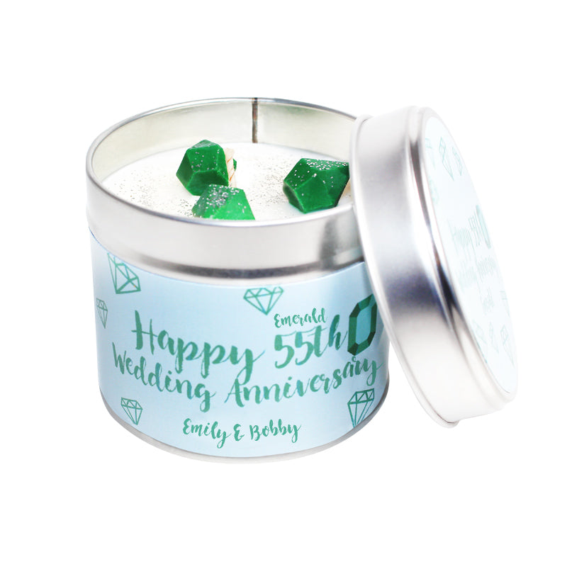 Personalised 55th Emerald Wedding Anniversary Candle Tin