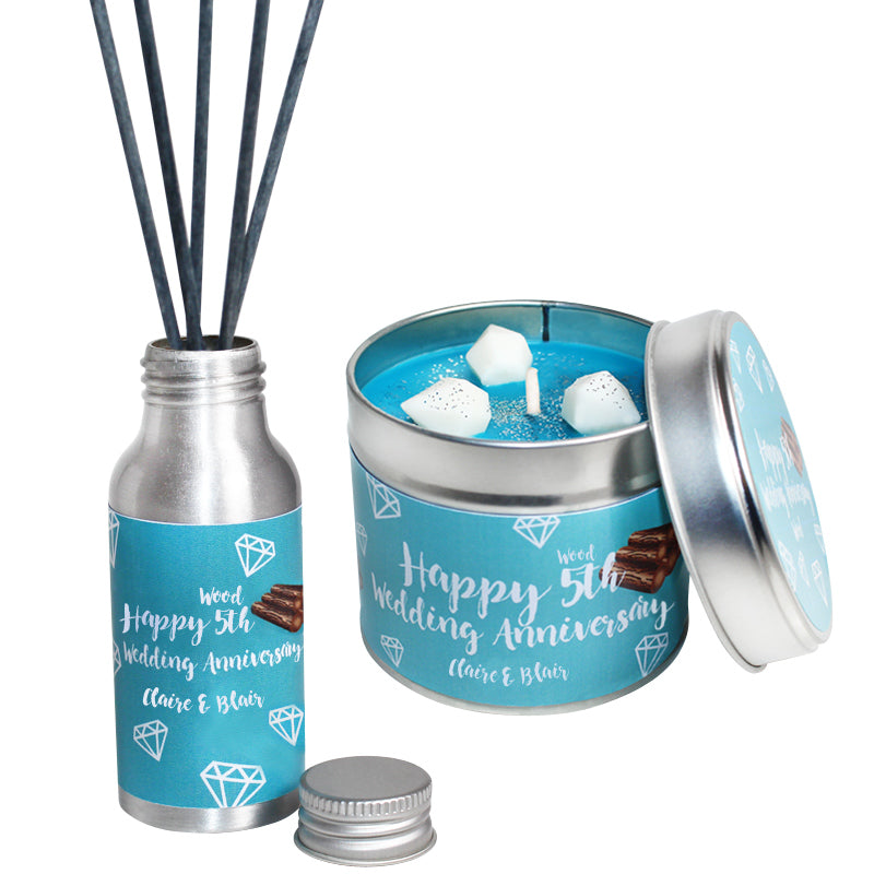 Personalised 5th Year Wood Wedding Anniversary Candle & Diffuser Gift Set
