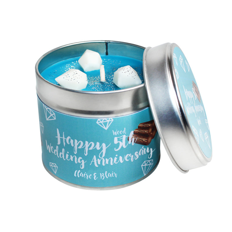 Personalised 5th Year Wood Wedding Anniversary Candle Tin