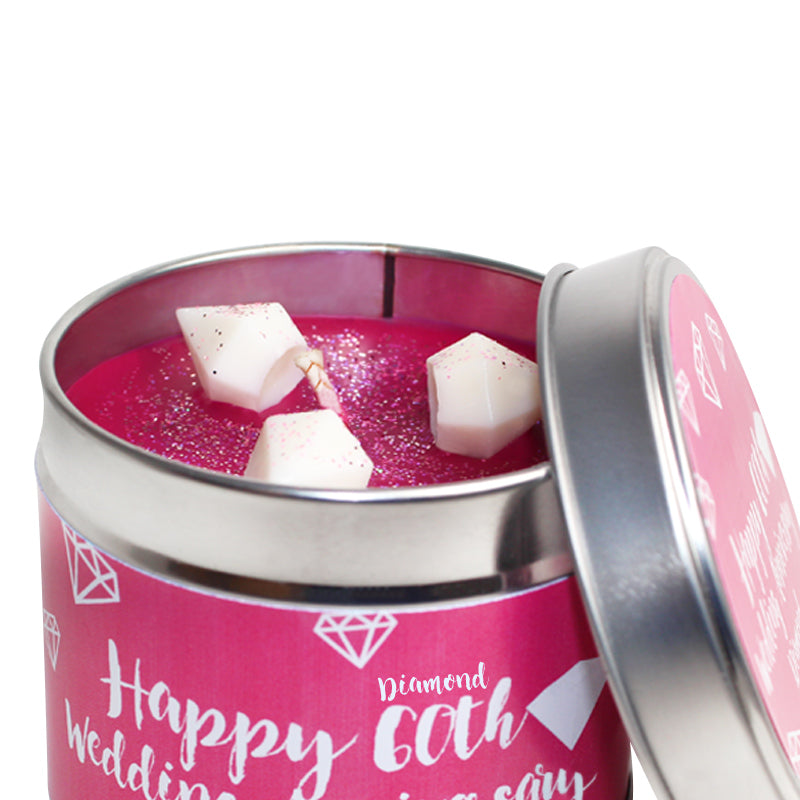 Personalised 60th Diamond Wedding Anniversary Candle Tin
