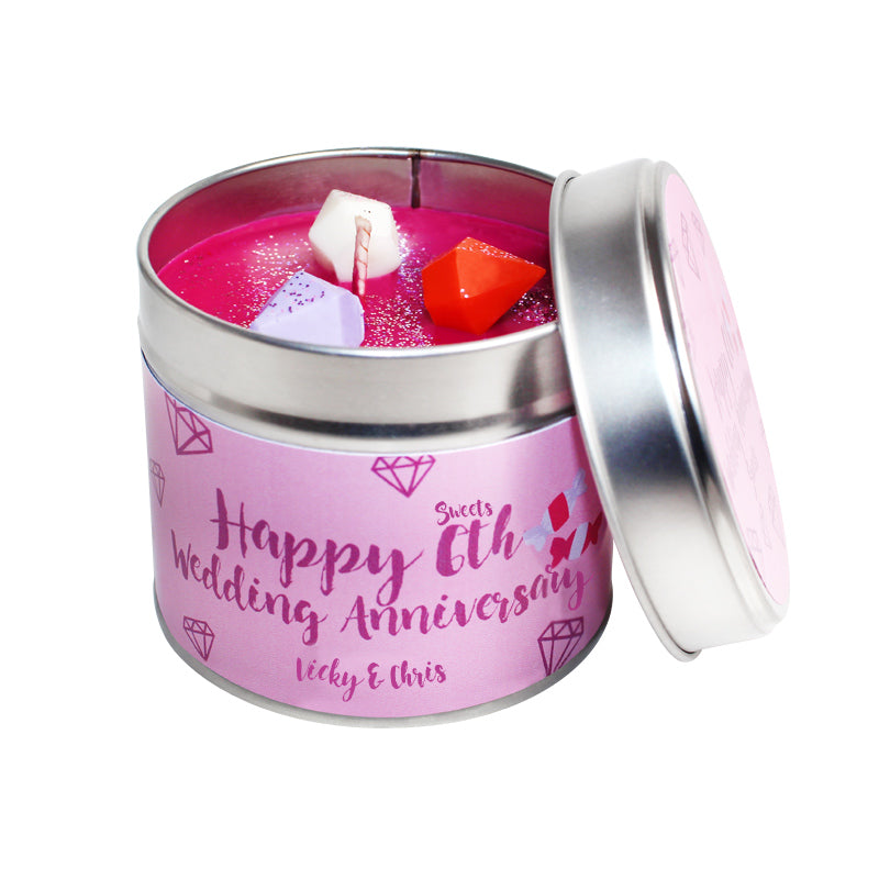 Personalised 6th Year Fruit Wedding Anniversary Candle Tin