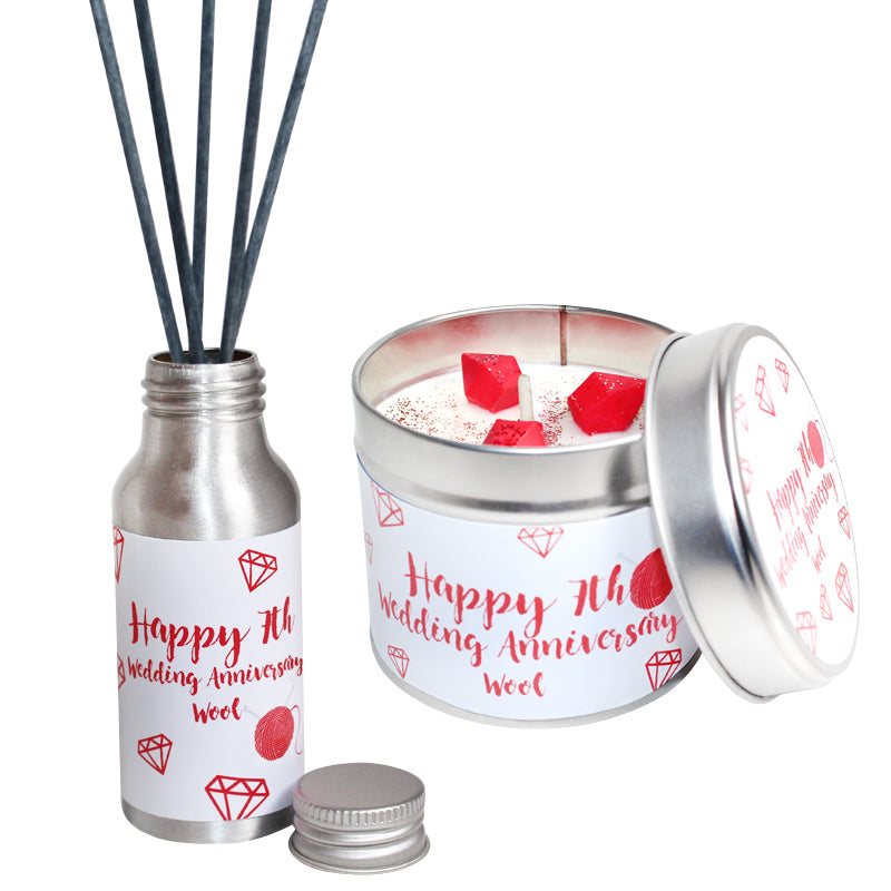 7th Year Wool Wedding Anniversary Candle & Diffuser Gift Set