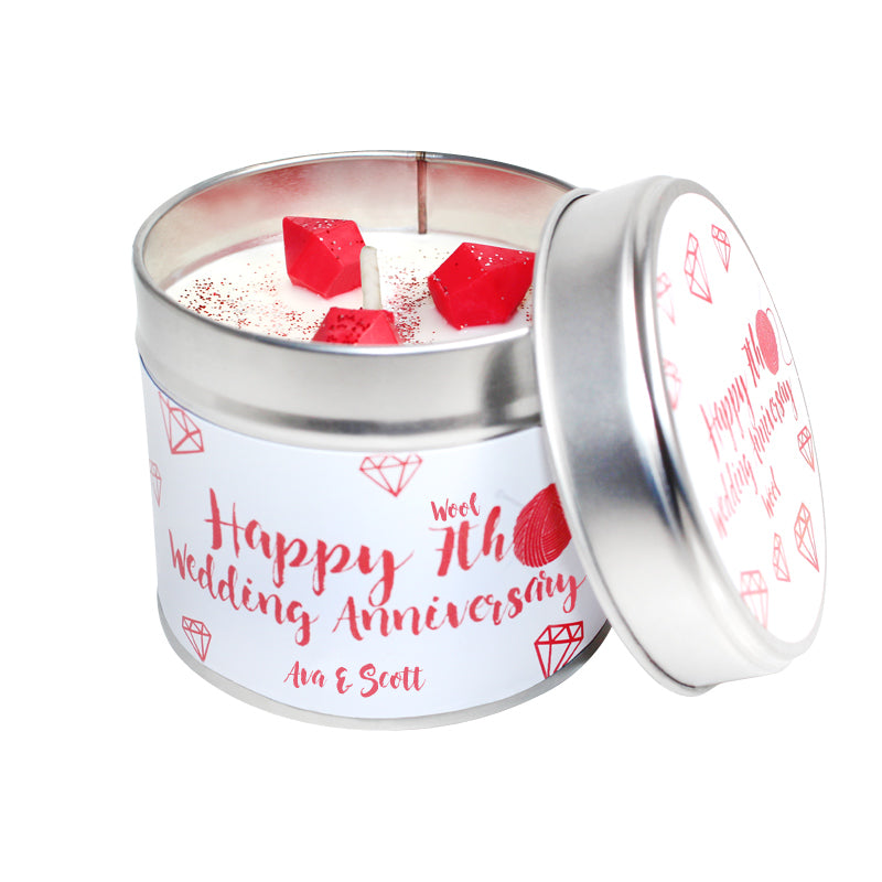 7th Year Wool Wedding Anniversary Candle Tin