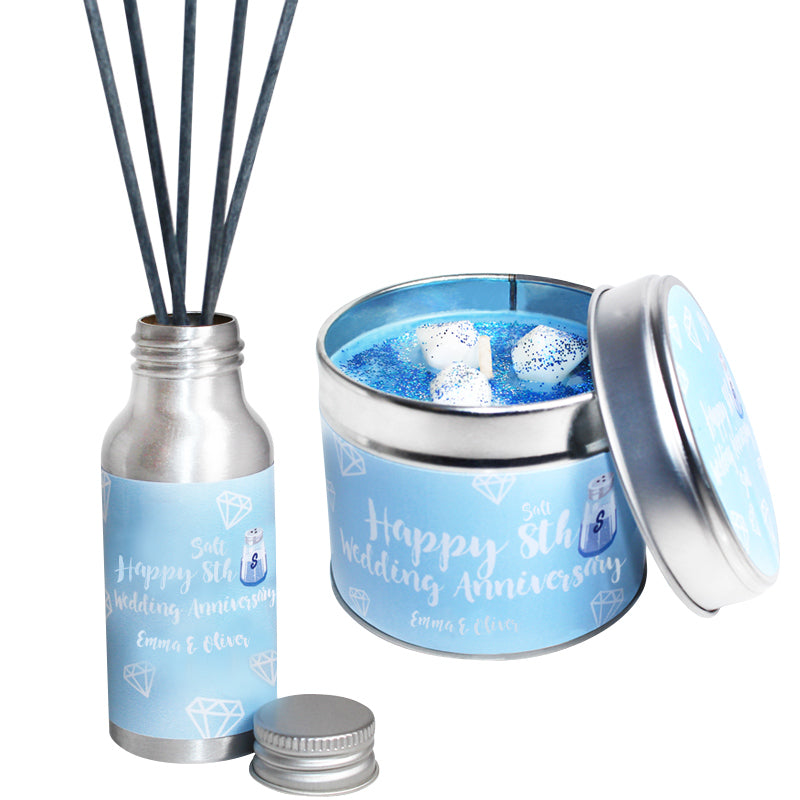 Personalised 8th Year Salt Wedding Anniversary Candle & Diffuser Gift Set