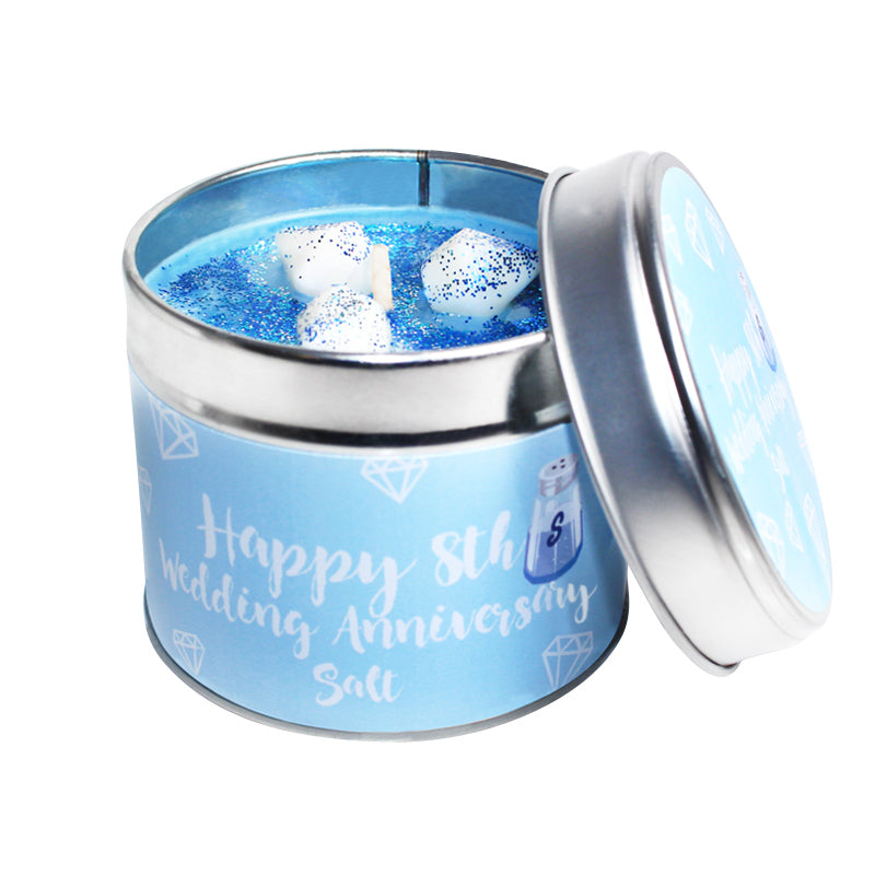 8th Year Salt Wedding Anniversary Candle Tin