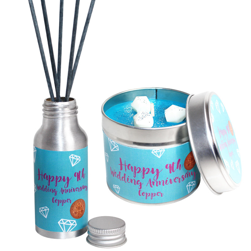 9th Year Copper Wedding Anniversary Candle & Diffuser Gift Set