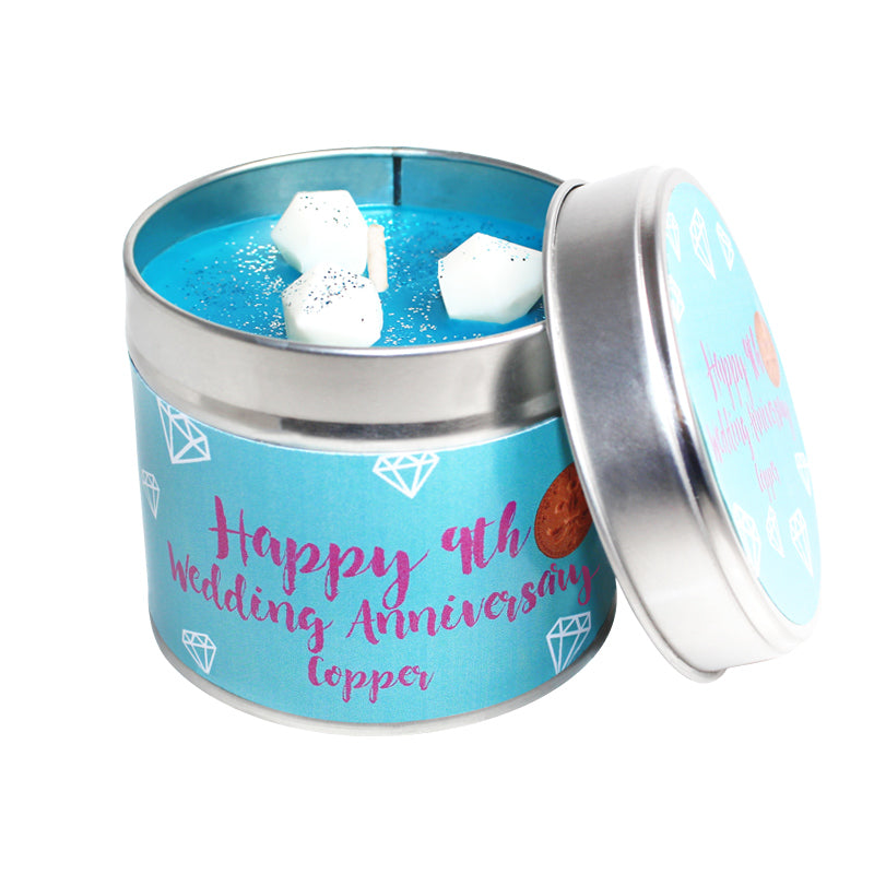 9th Year Copper Wedding Anniversary Candle Tin