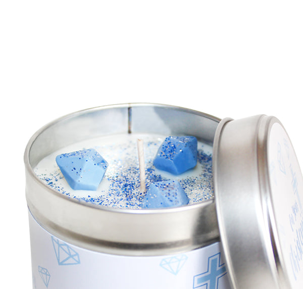 On Your Christening Soya Wax Candle Tin (Blue)