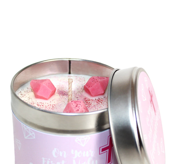 First Holy Communion Soya Wax Candle Tin (Pink)