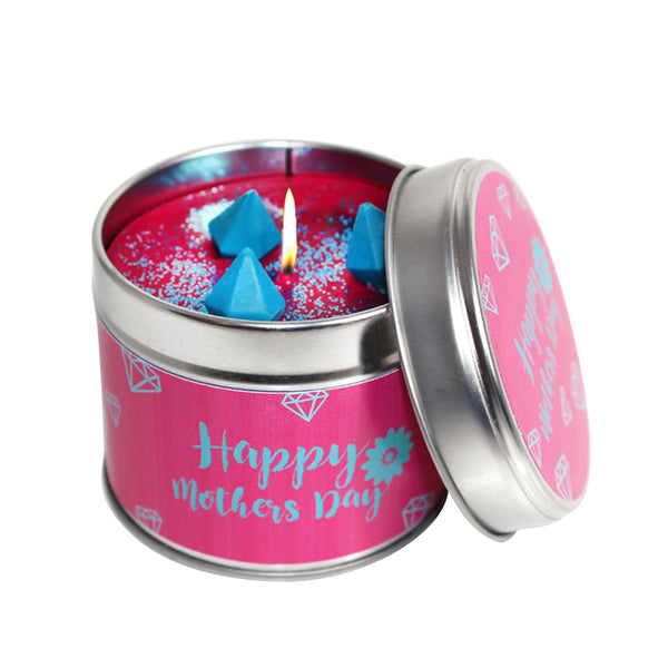 Happy Mothers Day Soya Wax Candle Tin In Pink