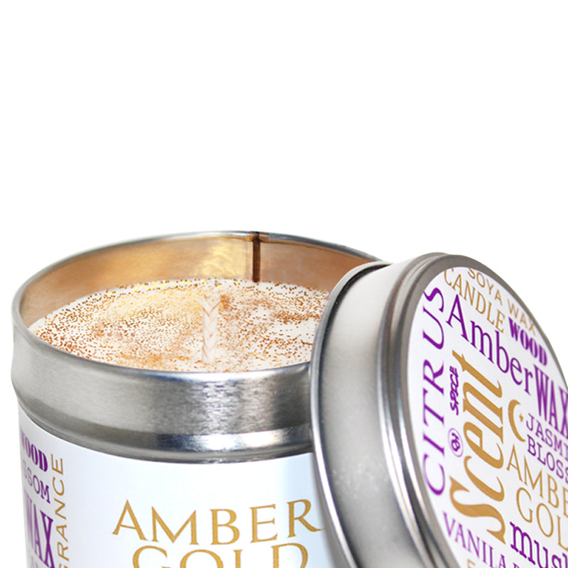 Amber Gold Scented Soya Wax Candle Tin