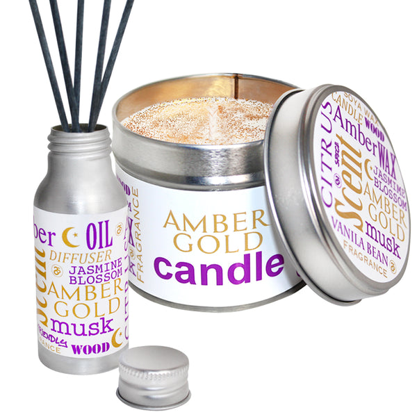 Amber Gold Scented Candle & Diffuser Gift Set