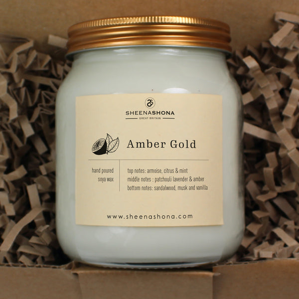 Amber Gold Scented Soya Wax Honey Jar Candle