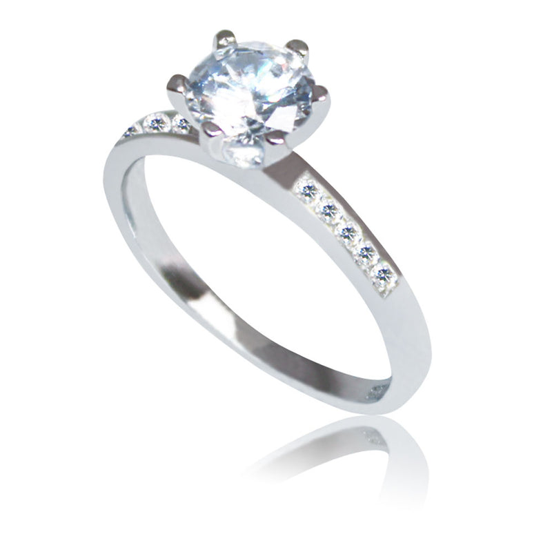 Sterling Silver Antwerp Solitaire & Pave Ring