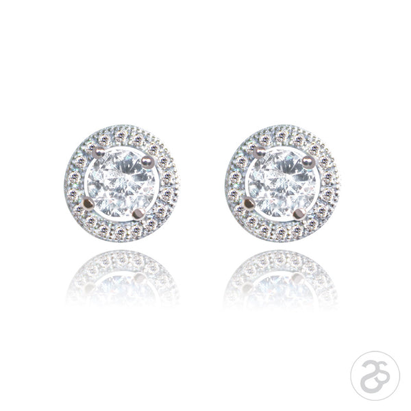 Sterling Silver Antwerp Solitaire & Pave Earrings