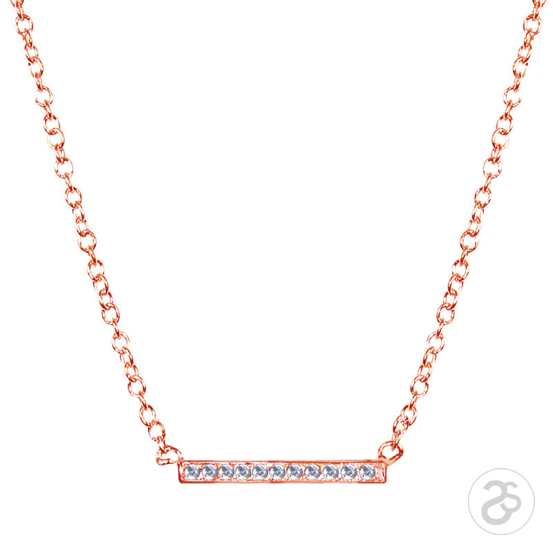 Rose Gold Vogue Bar Necklace