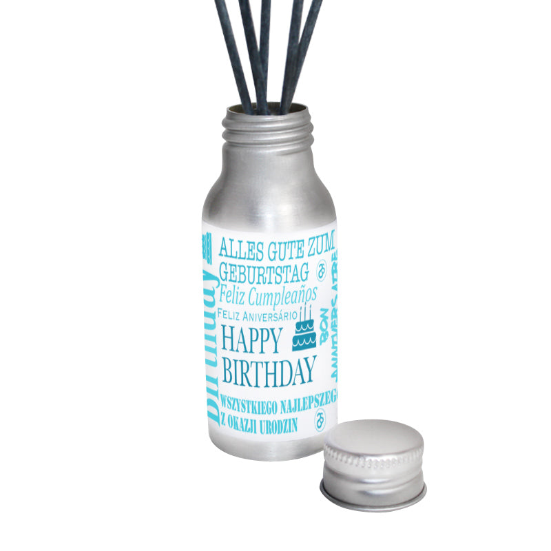 Personalised Happy Birthday Oil Reed Diffuser (Teal)