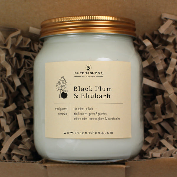 Black Plum & Rhubarb Scented Soya Wax Honey Jar Candle