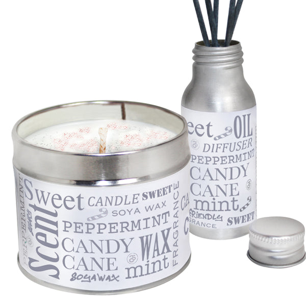 Peppermint Candy Cane Scented Candle & Diffuser Gift Set