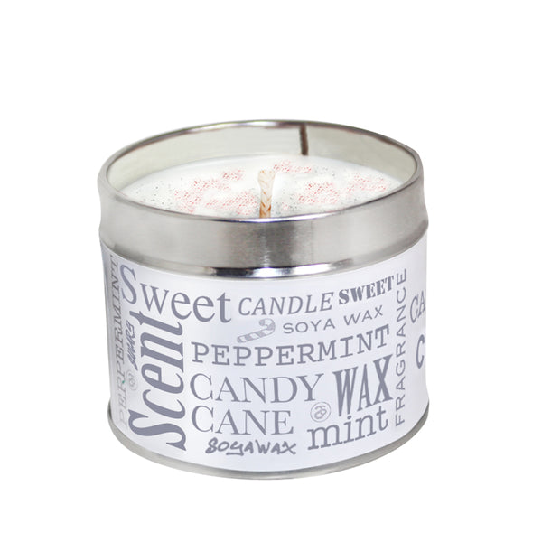 Peppermint Candy Cane Scented Soya Wax Candle Tin