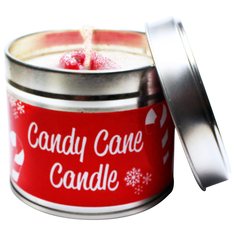 Christmas Candy Cane Soya Wax Candle Tin
