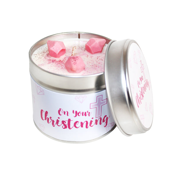 On Your Christening Soya Wax Candle Tin (Pink)