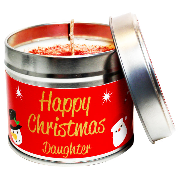 Personalised Happy Christmas Daughter Soya Wax Candle Tin