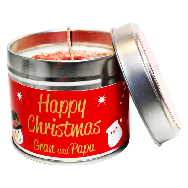 Personalised Happy Christmas Gran & Papa Soya Wax Candle Tin
