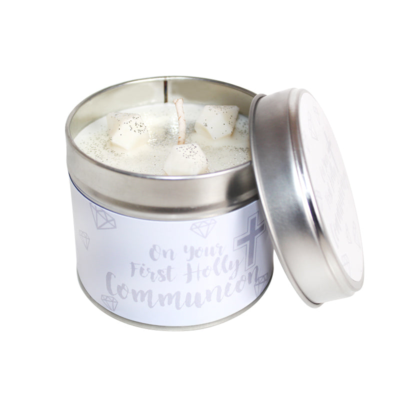 First Holy Communion Soya Wax Candle Tin (Silver)