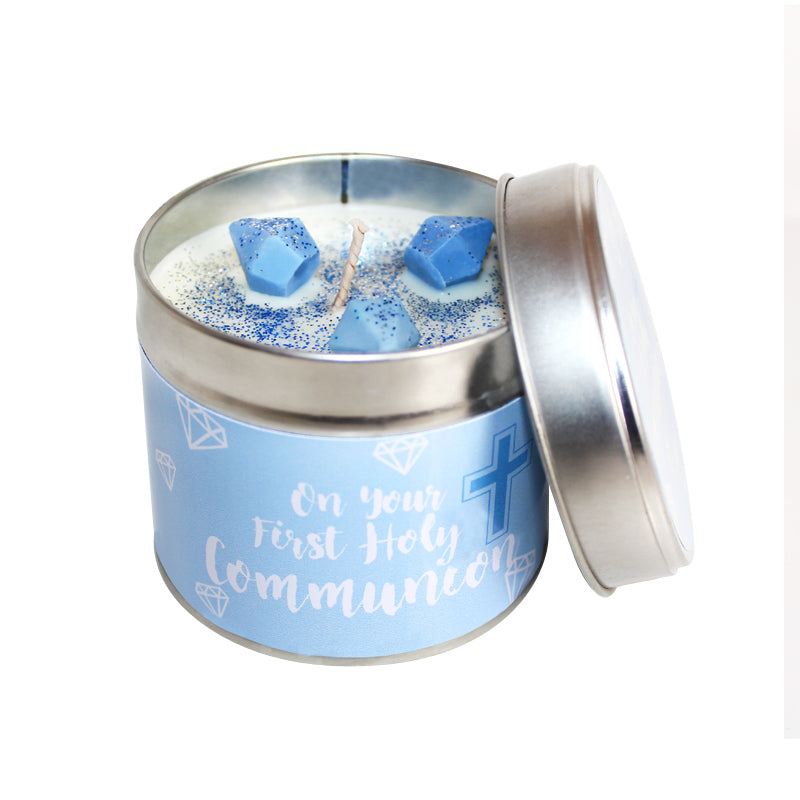 First Holy Communion Soya Wax Candle Tin (Blue)