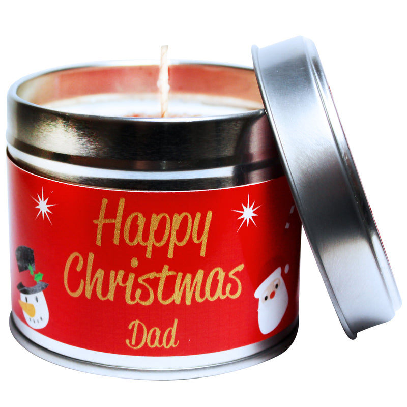 Personalised Happy Christmas Dad Soya Wax Candle Tin