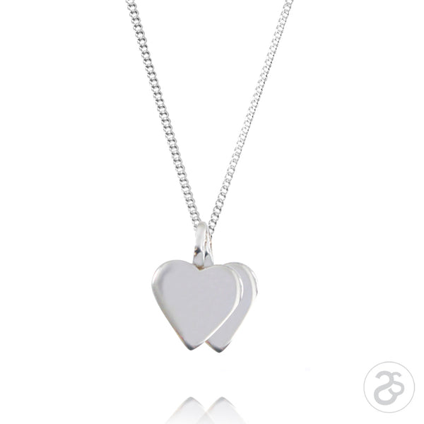 Sterling Silver Double Heart Charm & Belcher Chain