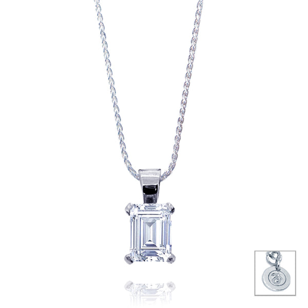 Emerald Cut 0.5ct Diamond Pendant