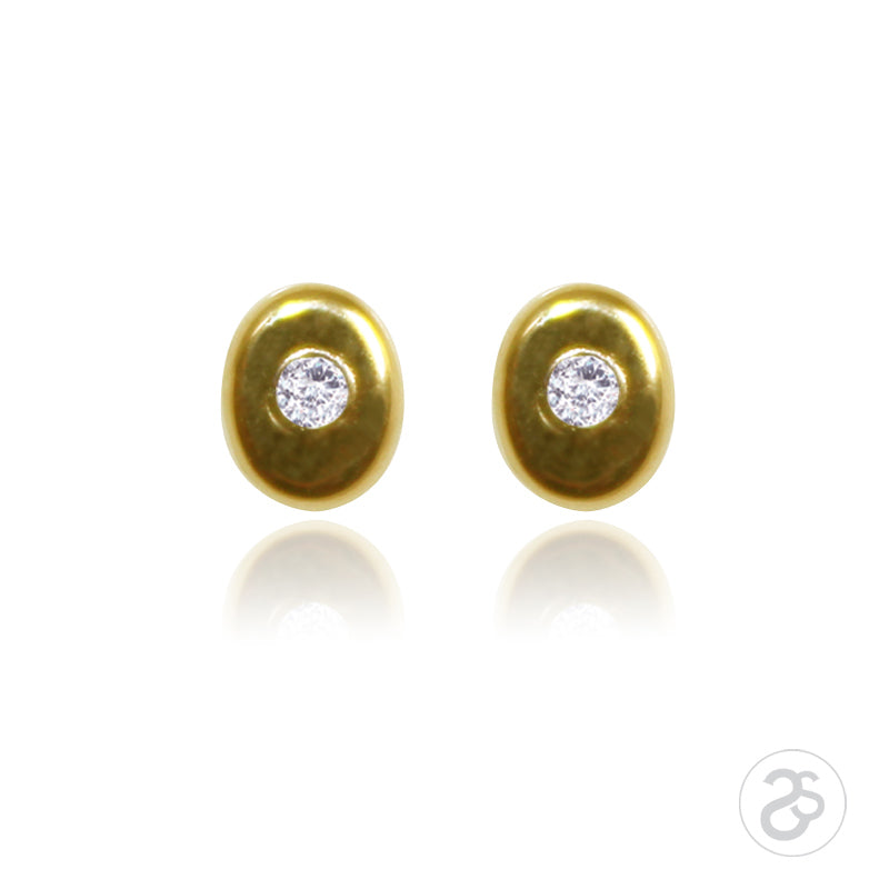 Yellow Gold Oval Cubic Zirconia Stud Earrings
