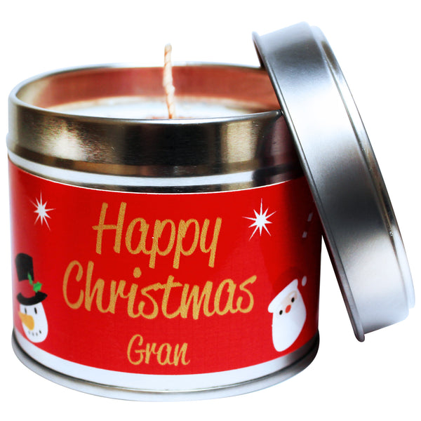 Personalised Happy Christmas Gran Soya Wax Candle Tin