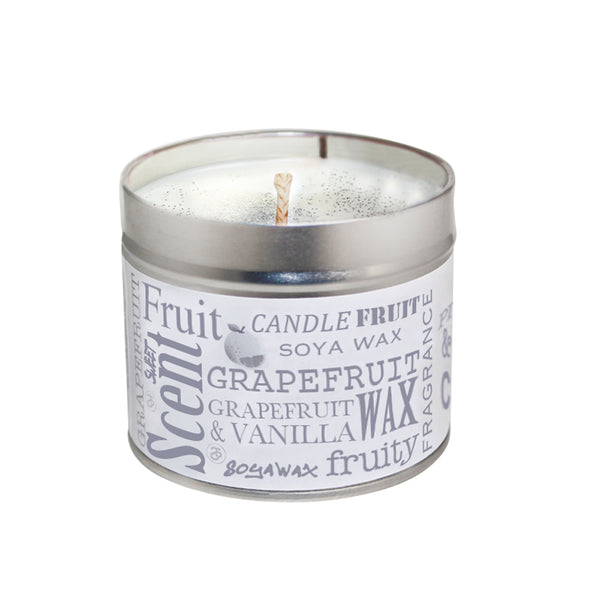 Pink Grapefruit & Vanilla Scented Soya Wax Candle Tin