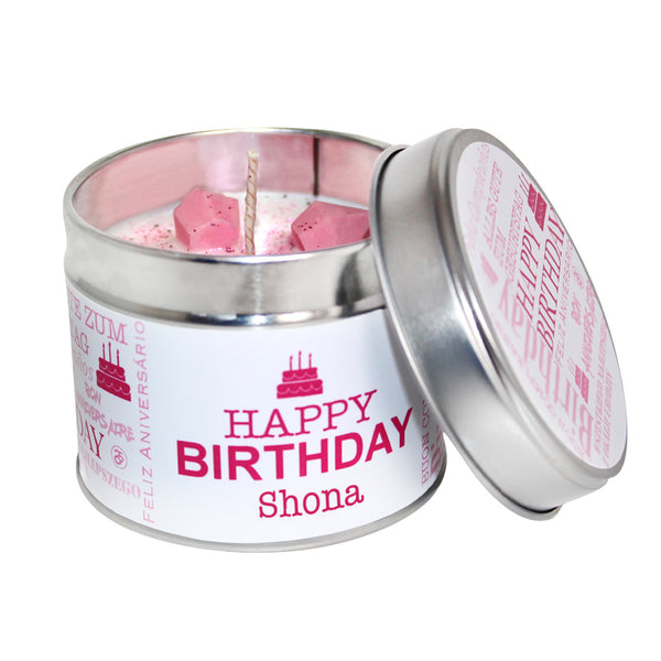 Personalised Happy Birthday Soya Wax Candle Tin (Pink)