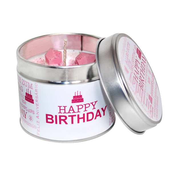 Happy Birthday Soya Wax Candle Tin (Pink)