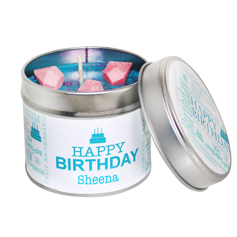 Personalised Happy Birthday Soya Wax Candle Tin (Teal)