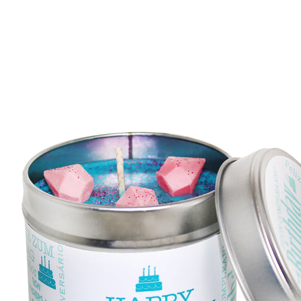 Happy Birthday Soya Wax Candle Tin (Teal)