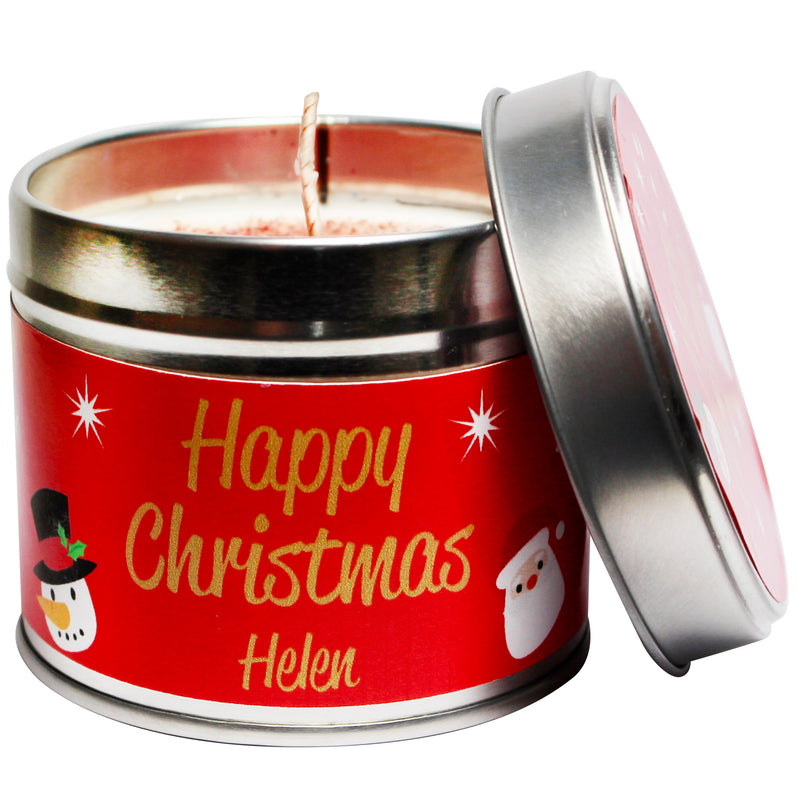 Personalised Happy Christmas Soya Wax Candle Tin