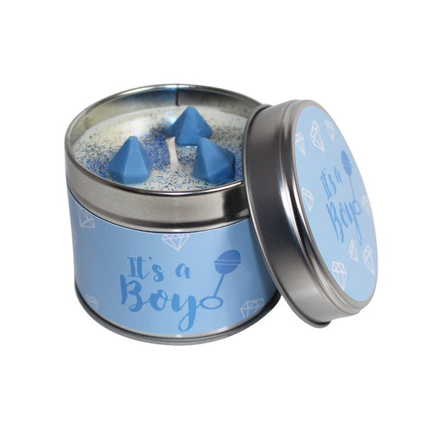 Its A Boy Soya Wax Candle Tin