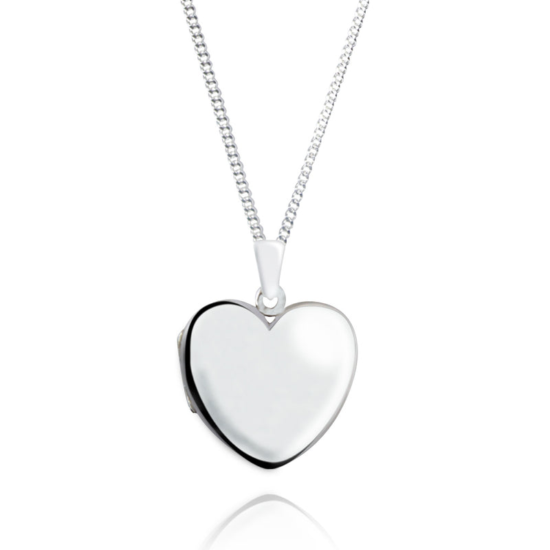 Sterling Silver Large Heart Photo Locket & Chain