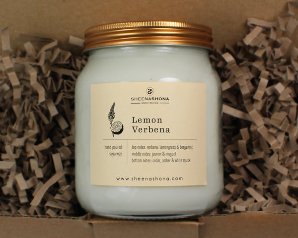 Lemon Verbena Scented Soya Wax Honey Jar Candle