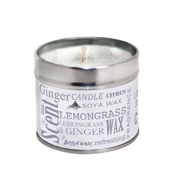 Lemongrass & Ginger Scented Soya Wax Candle Tin